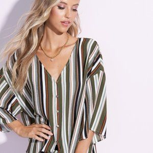 Betty Slimming Vertical Stripe Top in Army